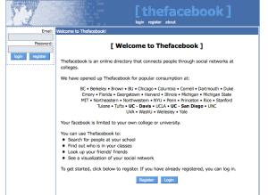 the facebook original welcome screen